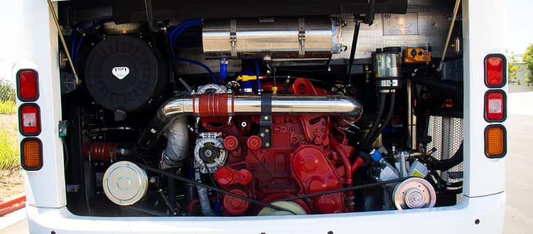 nice clean cummins engine in HT45 coach